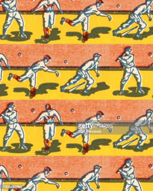 illustrazioni stock, clip art, cartoni animati e icone di tendenza di giocatori di baseball - palla da baseball
