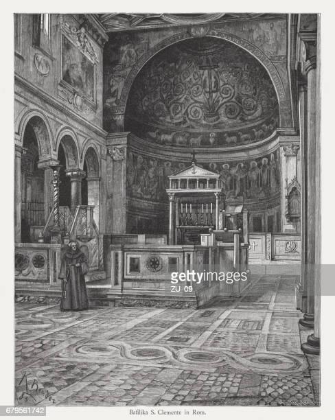 ilustrações de stock, clip art, desenhos animados e ícones de basilica of saint clement, rome, italy, wood engraving, published 1884 - nicho
