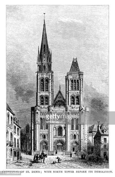 サン・ドニ大聖堂、パリ、解体前の北タワー - バシリカ点のイラスト素材/クリップアート素材/マンガ素材/アイコン素材