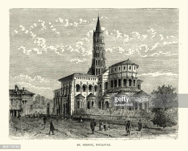 basilica of saint-sernin, toulouse, france, 19th century - toulouse stock illustrations, clip art, cartoons, & icons