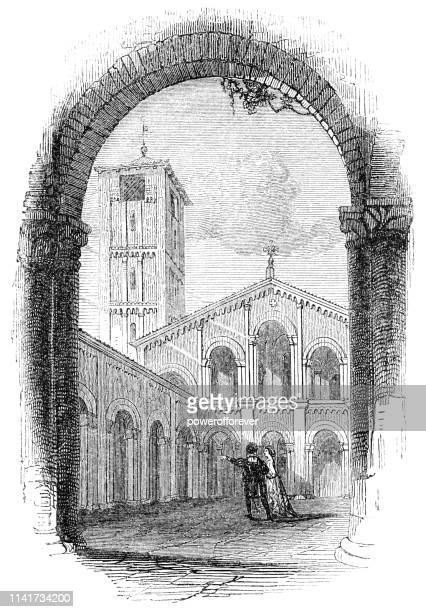 basilica of sant'ambrogio in milan, italy - 16th century - milan stock illustrations, clip art, cartoons, & icons