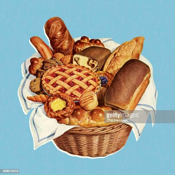 basket full of baked goods - boulanger stock illustrations