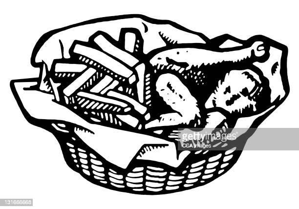 ilustrações de stock, clip art, desenhos animados e ícones de basket of fried chicken and fries - batata frita