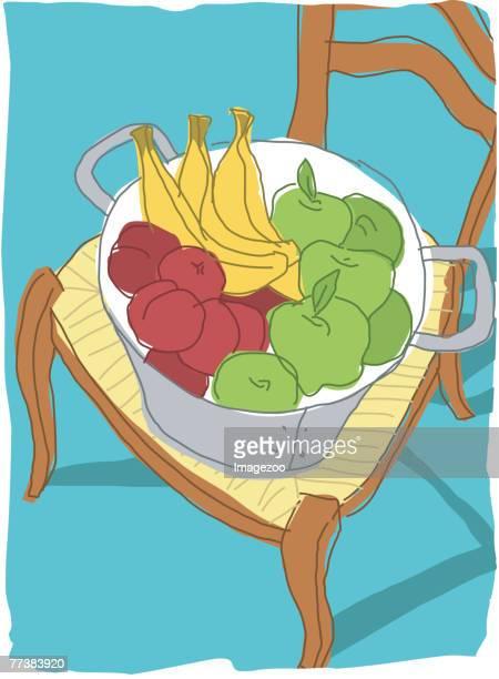 ilustrações de stock, clip art, desenhos animados e ícones de basket of fruit - cesta de fruta