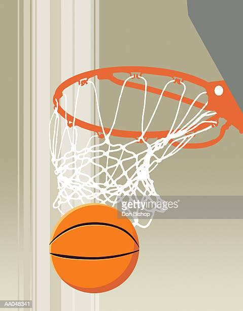 ilustraciones, imágenes clip art, dibujos animados e iconos de stock de basketball and hoop - canasta de baloncesto