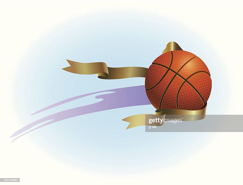 basketball and ribbon