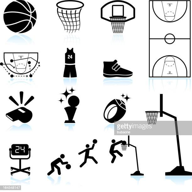Basketball black and white royalty free vector icon set