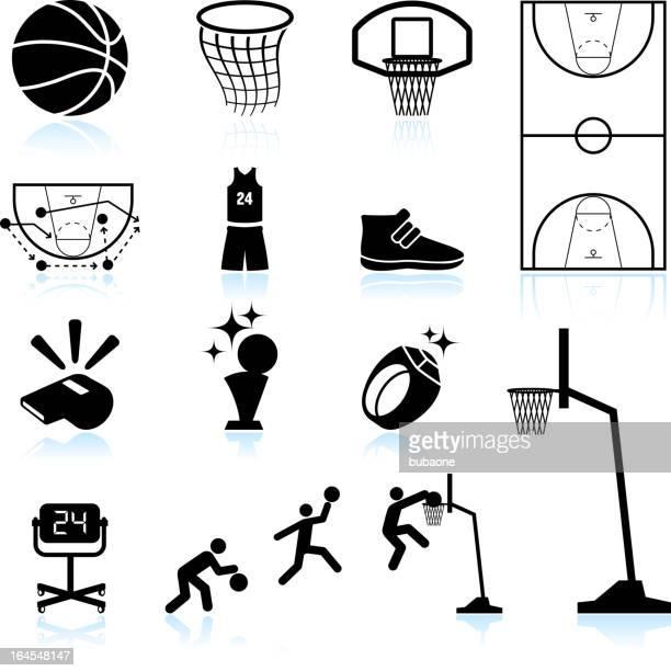 ilustraciones, imágenes clip art, dibujos animados e iconos de stock de básquetbol blanco y negro sin royalties de conjunto de iconos vectoriales - cancha de baloncesto