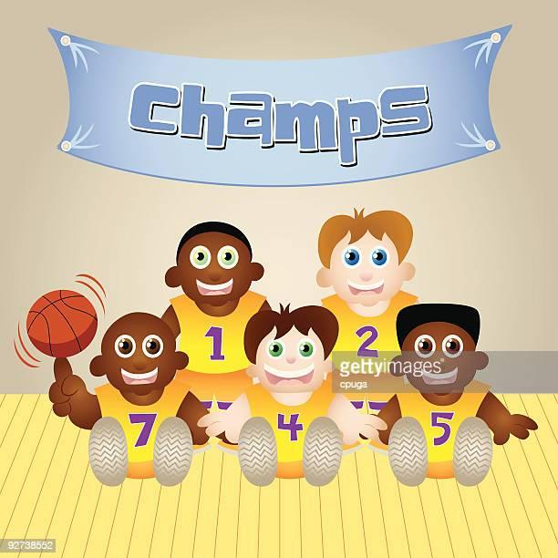 basketball champs - sports organization stock illustrations, clip art, cartoons, & icons