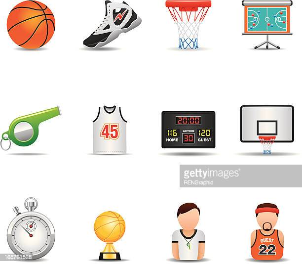 basketball icon set | elegant series - basketball ball stock illustrations, clip art, cartoons, & icons