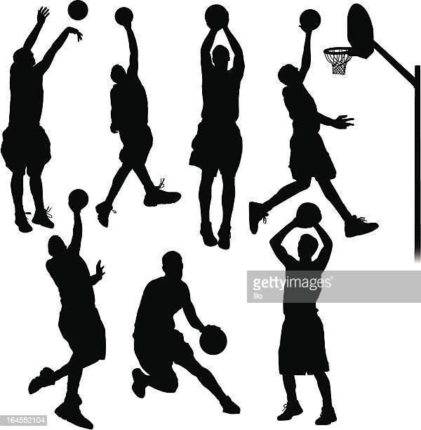 basketball players - shooting baskets stock illustrations