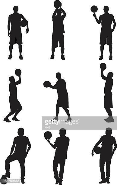 ilustraciones, imágenes clip art, dibujos animados e iconos de stock de actores posando con basketballs básquetbol - jugador de baloncesto