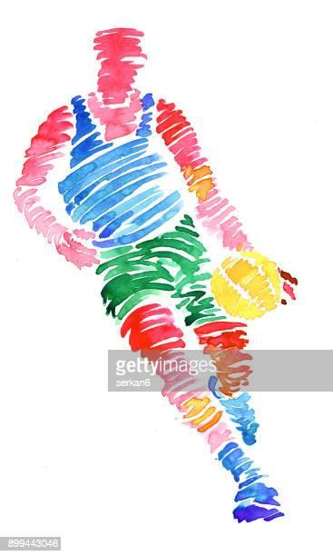 ilustraciones, imágenes clip art, dibujos animados e iconos de stock de acuarela de los jugadores de baloncesto - jugadordebaloncesto
