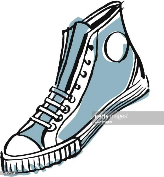 basketball shoe - sports footwear stock illustrations