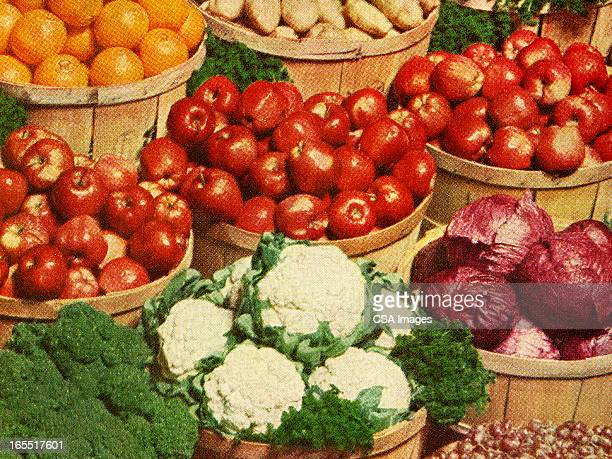 baskets of fruits and vegetables - cauliflower stock illustrations, clip art, cartoons, & icons