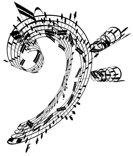 Bass Clef Made Of Music Notes Wall Art