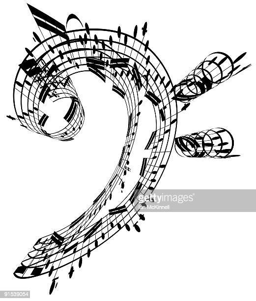 bass clef made of music notes - bass clef stock illustrations, clip art, cartoons, & icons