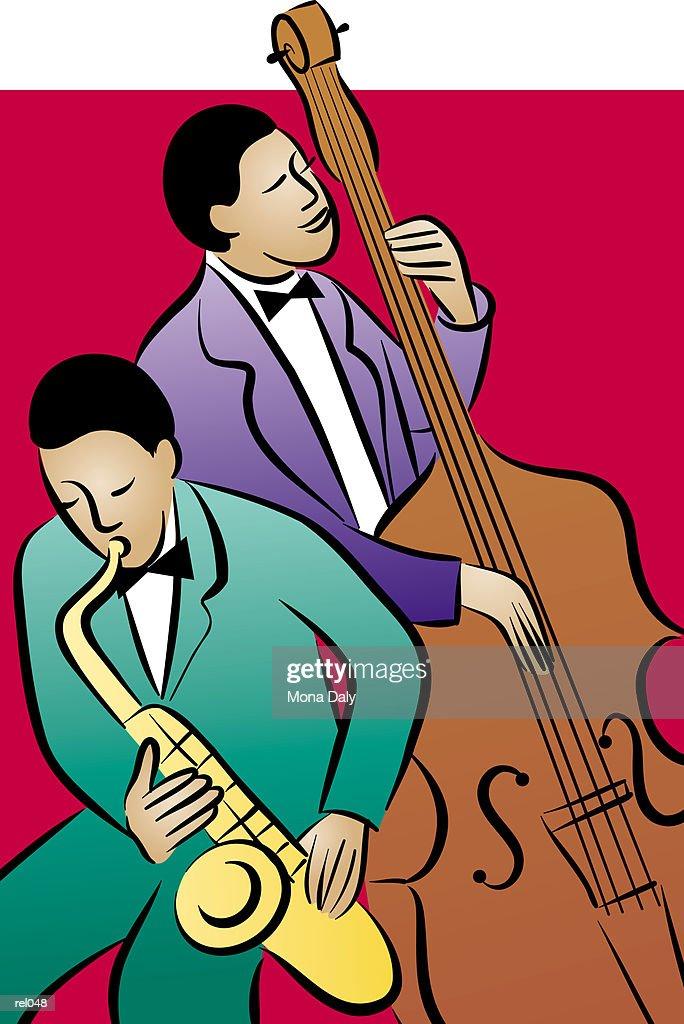 Bassist & Saxophonist : Ilustração de stock