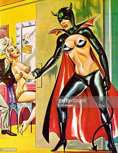 bat lady entering dressing room - seduction stock illustrations, clip art, cartoons, & icons