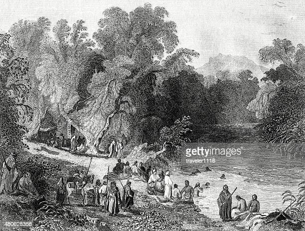 bathing in the river jordan - historical palestine stock illustrations