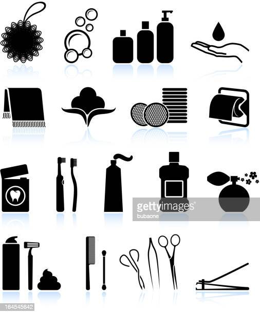 bathroom accessories black and white royalty free vector icon set - dental floss stock illustrations