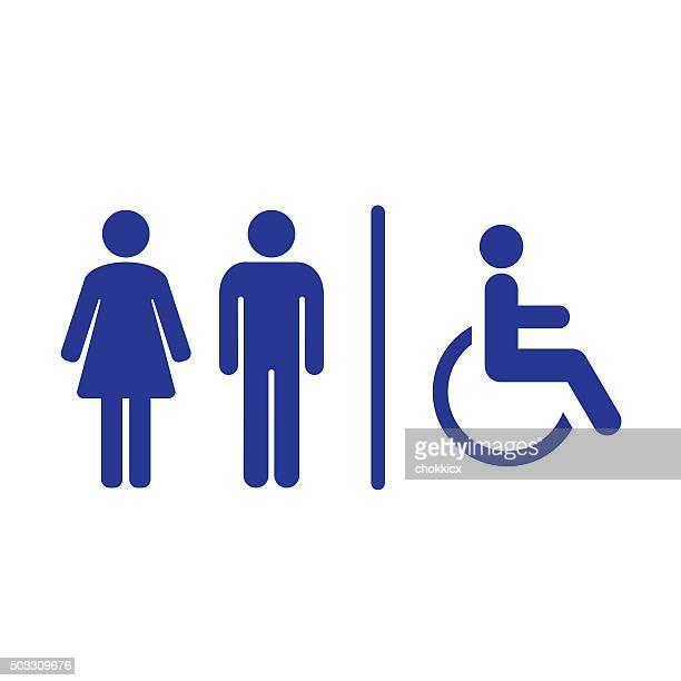bathroom sign symbol - toilet sign stock illustrations, clip art, cartoons, & icons