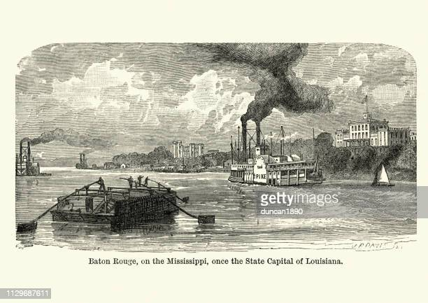 baton rouge on the mississippi, louisiana, 19th century - baton rouge stock illustrations