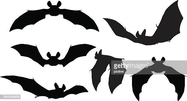 bats silhouettes - flying stock illustrations