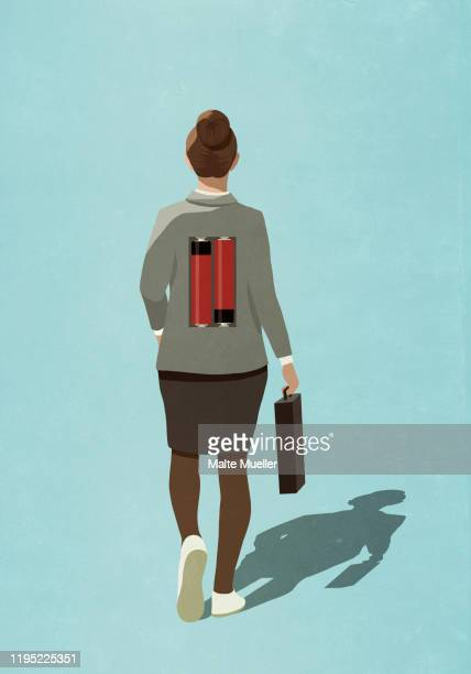 batteries on back of businesswoman - rear view stock illustrations