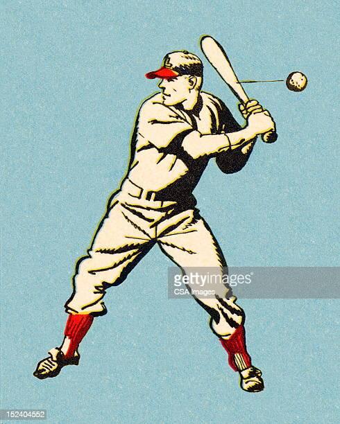 bildbanksillustrationer, clip art samt tecknat material och ikoner med batting baseball player - basebollslag