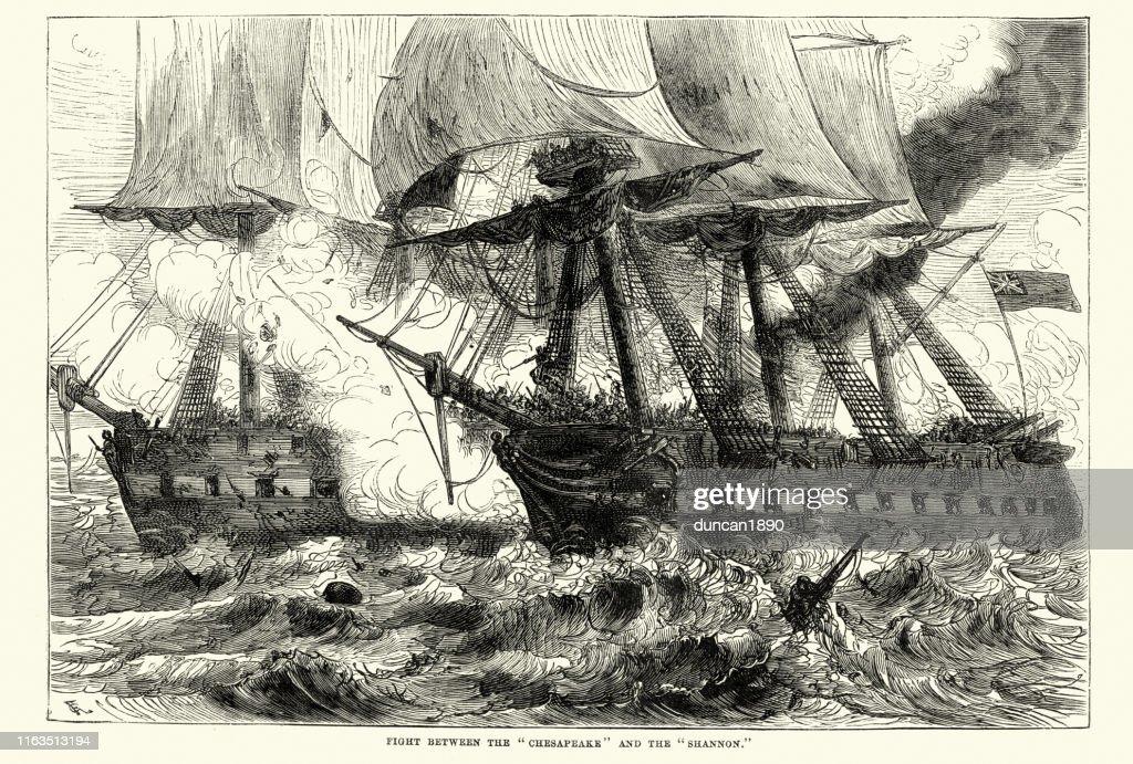 Battle between HMS Shannon and USS Chesapeake, 1813 : Stock Illustration