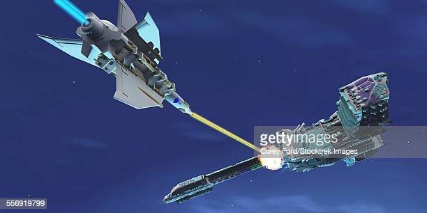 a battle ensues as a fighter spacecraft blasts a large enemy battleship with a laser beam. - attacking stock illustrations, clip art, cartoons, & icons