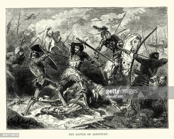 battle of agincourt - hundred years war stock illustrations, clip art, cartoons, & icons