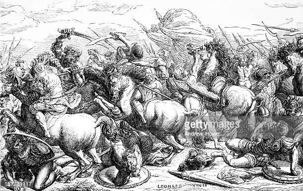 ilustraciones, imágenes clip art, dibujos animados e iconos de stock de batalla de anghiari - leonardo da vinci