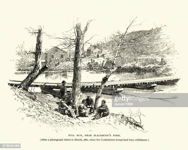 battle of bull run, near blackburn's ford, 1862 - pontoon bridge stock illustrations
