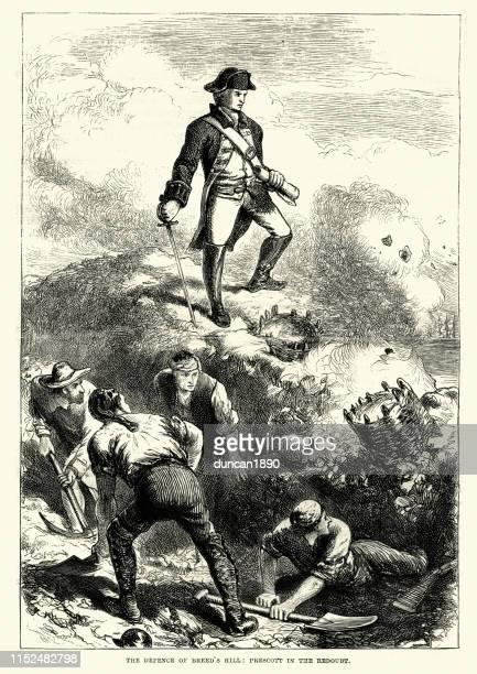 ilustrações, clipart, desenhos animados e ícones de batalha de bunker hill. 1775, guerra revolucionária americana - american revolution