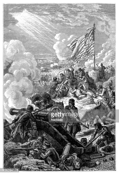 "battle of bunker hill ......as they said at bunker hill, ""don't fire until you see the whites of their eyes!"" - bunker hill monument stock illustrations"