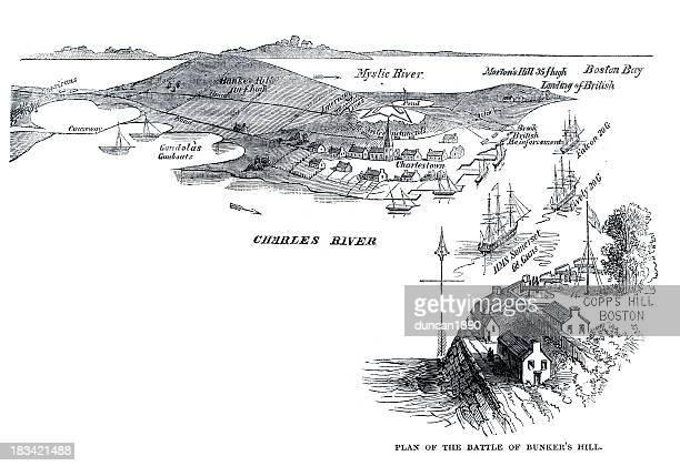 battle of bunker hill - bunker hill monument stock illustrations