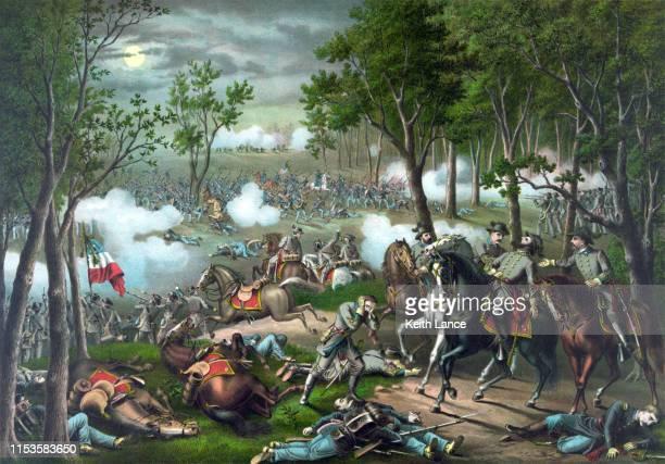 battle of chancellorsville, 1863 - american civil war battle stock illustrations