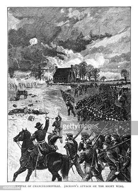 battle of chancellorsville - american civil war battle stock illustrations