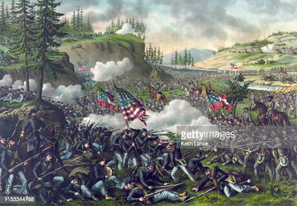 battle of chickamauga, 1863 - history stock illustrations