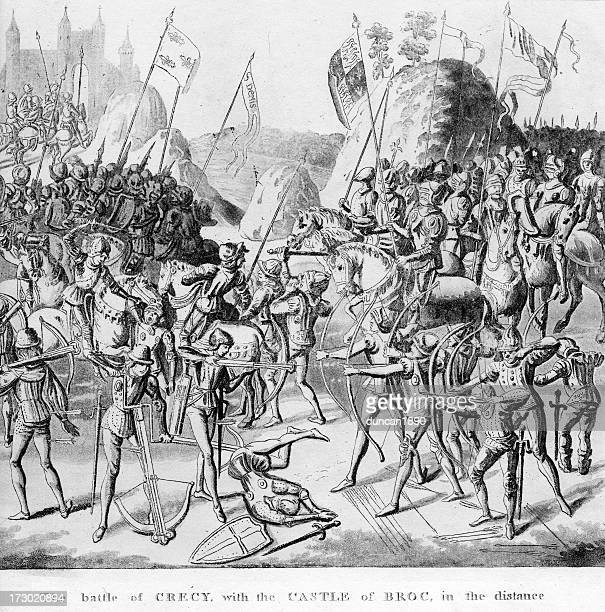 battle of crecy - hundred years war stock illustrations, clip art, cartoons, & icons
