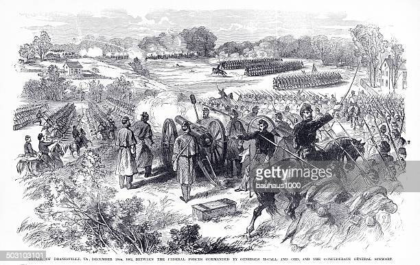 battle of dranesville, va engraving - animals charging stock illustrations, clip art, cartoons, & icons