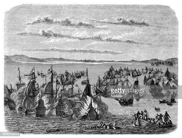 battle of fehmarn (1644) ,naval battle: 17th century - martinique stock illustrations