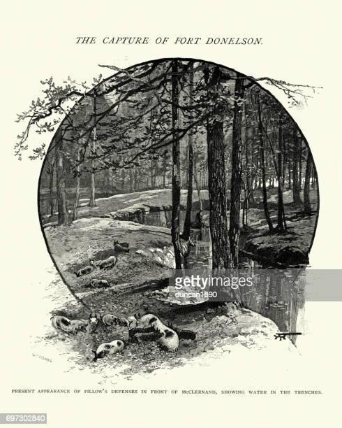 battle of fort donelson, general pillow's defence - american civil war battle stock illustrations