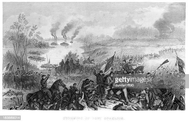 battle of fort donelson - american civil war battle stock illustrations