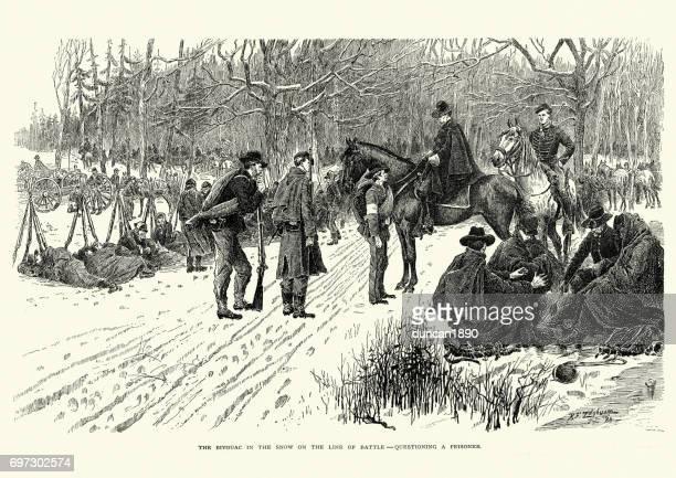 battle of fort donelson, questioning a prisoner - american civil war battle stock illustrations