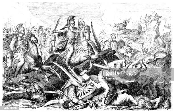 battle of gaugamela (october 1st, 331 bc) - classical greek style stock illustrations