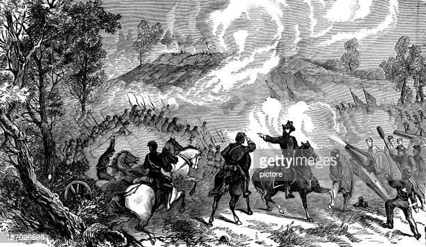 battle of gettysburg in 1863 - american civil war battle stock illustrations