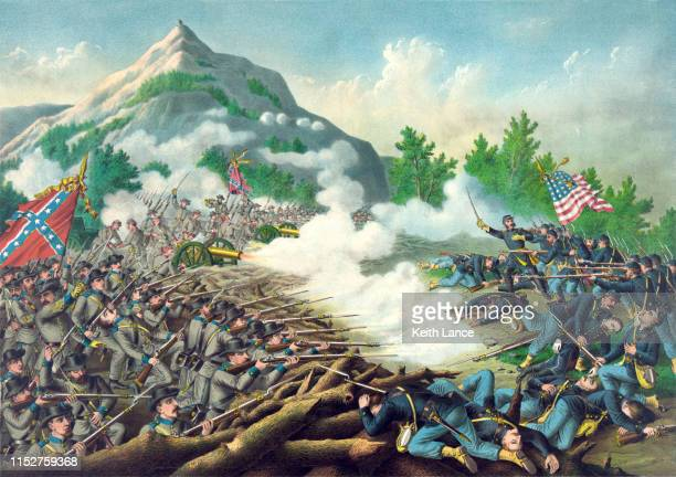 battle of kennesaw mountain - history stock illustrations